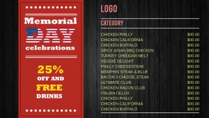 Swell Memorial Day Menu (Wood)