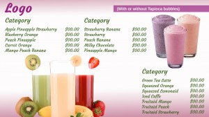 Sublime Juice Menu (Pink)