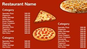 Colloquial Pizza Menu (Red)