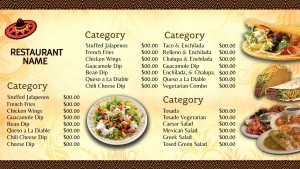 Lustrous Mexican Menu (Yellow)
