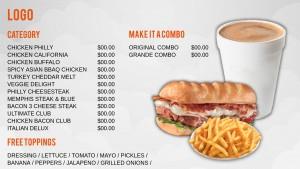 Argent Sandwich Menu (White)