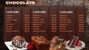 Intricate Chocolate Menu