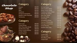 Sienna Chocolate Menu