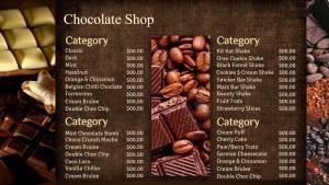 Chestnut Chocolate Menu
