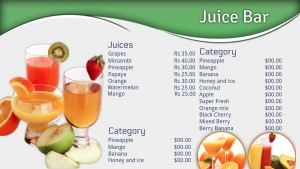 Mantis Juice Bar Menu